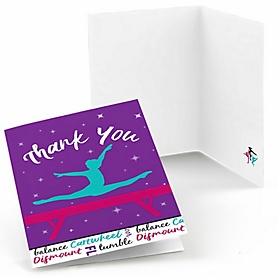Tumble, Flip & Twirl - Gymnastics - Birthday Party or Gymnast Party Thank You Cards - 8 ct