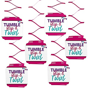 Tumble, Flip & Twirl - Gymnastics - Birthday Party or Gymnast Party Hanging Decorations - 6 ct