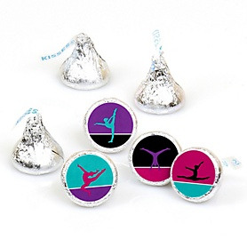 Tumble, Flip & Twirl - Gymnastics - Birthday Party or Gymnast Party Round Candy Sticker Favors - Labels Fit Hershey's Kisses  - 108 ct