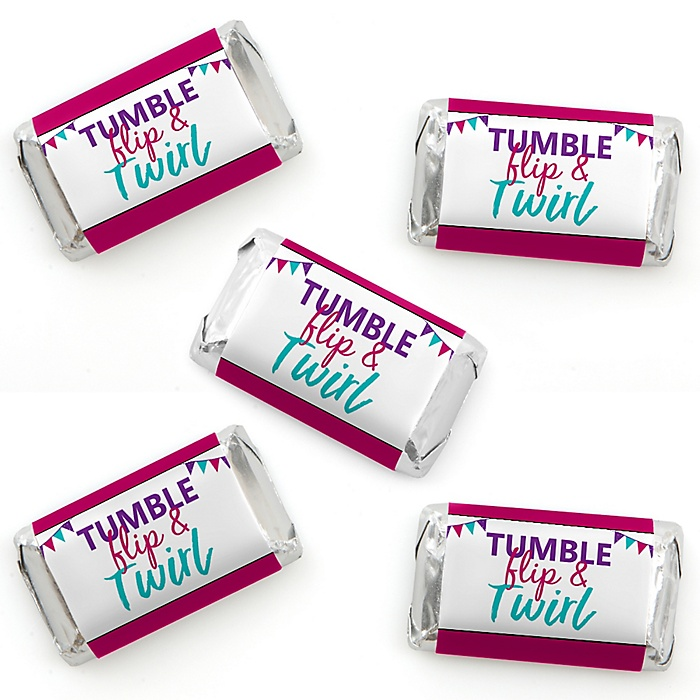 Tumble, Flip & Twirl - Gymnastics - Mini Candy Bar Wrapper Stickers - Birthday Party or Gymnast Party Small Favors - 40 Count