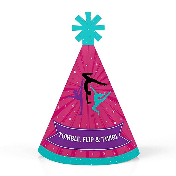 Tumble, Flip & Twirl - Gymnastics - Personalized Mini Cone Birthday Party or Gymnast Party Hats - Small Little Party Hats - Set of 10
