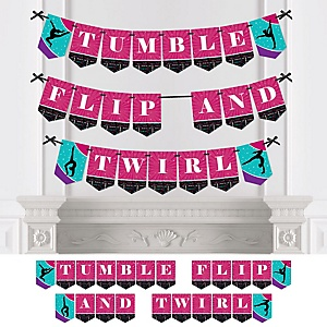 Tumble, Flip & Twirl - Gymnastics - Personalized Birthday Party or Gymnast Party Bunting Banner & Decorations