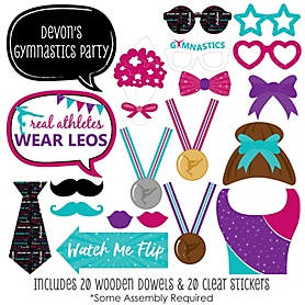 Tumble, Flip & Twirl - Gymnastics - 20 Piece Birthday Party or Gymnast Party Photo Booth Props Kit