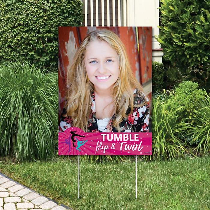 Tumble, Flip & Twirl - Gymnastics - Photo Yard Sign - Birthday Party or Gymnast Party Decorations