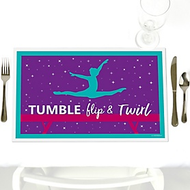 Tumble, Flip & Twirl - Gymnastics - Party Table Decorations - Birthday Party or Gymnast Party Placemats - Set of 12