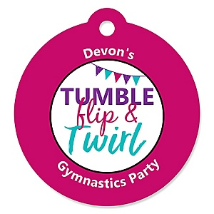 Tumble, Flip & Twirl - Gymnastics - Personalized Birthday Party or Gymnast Party Favor Gift Tags - 20 ct