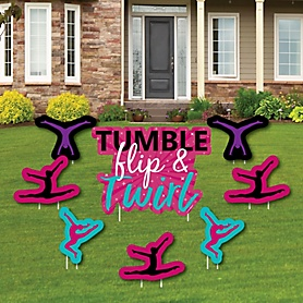 Tumble, Flip & Twirl - Gymnastics - Yard Sign & Outdoor Lawn Decorations - Birthday Party or Gymnast Party Yard Signs - Set of 8