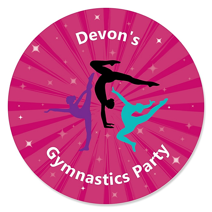 Tumble, Flip & Twirl - Gymnastics - Personalized Birthday Party or Gymnast Party Sticker Labels - 24 ct