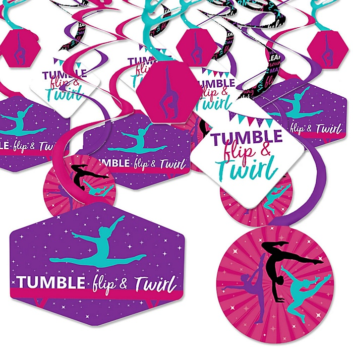 Tumble, Flip & Twirl - Gymnastics - Birthday Party or Gymnast Party Hanging Decor - Party Decoration Swirls - Set of 40