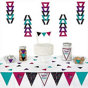 Tumble, Flip & Twirl - Gymnastics -  Triangle Birthday Party or Gymnast Party Decoration Kit - 72 Piece