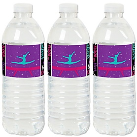Tumble, Flip & Twirl - Gymnastics - Birthday Party or Gymnast Party Water Bottle Sticker Labels - Set of 20