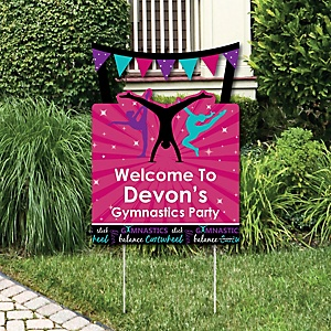 Tumble, Flip & Twirl - Gymnastics - Party Decorations - Birthday Party or Gymnast Party Personalized Welcome Yard Sign