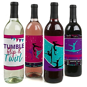 Tumble, Flip & Twirl - Gymnastics - Wine Bottle Gift Labels - Gymnast Party Decorations for Women and Men - Wine Bottle Label Stickers - Set of 4