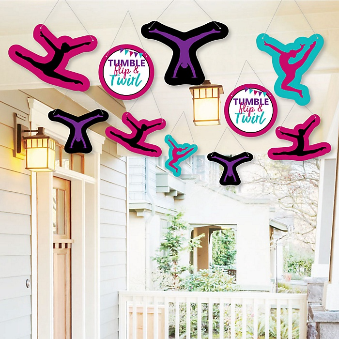 Hanging Tumble, Flip & Twirl - Gymnastics - Outdoor Birthday Party or Gymnast Party Hanging Porch & Tree Yard Decorations - 10 Pieces