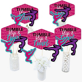 Tumble, Flip & Twirl - Gymnastics - Birthday Party or Gymnast Party Centerpiece Sticks - Table Toppers - Set of 15