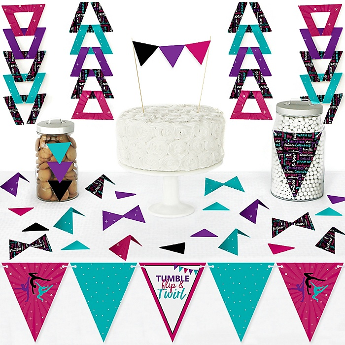 Tumble, Flip & Twirl - Gymnastics - DIY  Pennant Banner Decorations - Birthday Party or Gymnast Party Triangle Kit - 99 Pieces