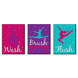 Tumble, Flip and Twirl - Gymnastics - Kids Bathroom Rules Wall Art - 7.5 x 10 inches - Set of 3 Signs - Wash, Brush, Flush