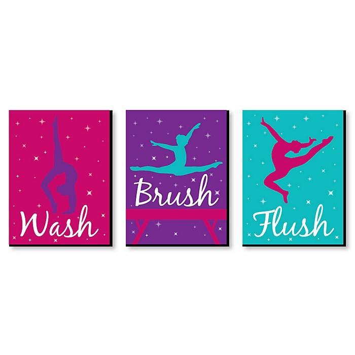 Tumble, Flip and Twirl - Gymnastics - Kids Bathroom Rules Wall Art - 7.5 x 10 inches - Set of 3 Signs - Wash, Brush, Flush