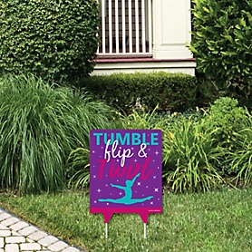 Tumble, Flip & Twirl - Gymnastics - Outdoor Lawn Sign - Birthday Party or Gymnast Party Yard Sign - 1 Piece