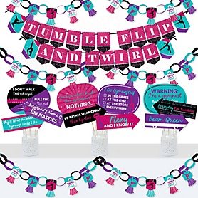 Tumble, Flip & Twirl - Gymnastics - Banner and Photo Booth Decorations - Birthday Party or Gymnast Party Supplies Kit - Doterrific Bundle