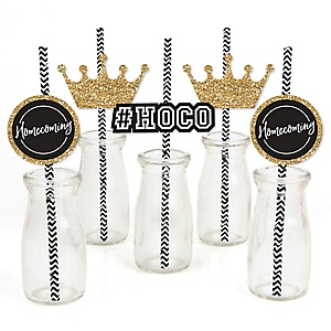 HOCO Dance - Paper Straw Decor - Homecoming Party Striped Decorative Straws - Set of 24
