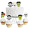 Halloween Monsters - Dessert Cupcake Toppers - Skeleton, Mummy, Vampire, Frankenstein & Witch Halloween Party Clear Treat Picks - Set of 24