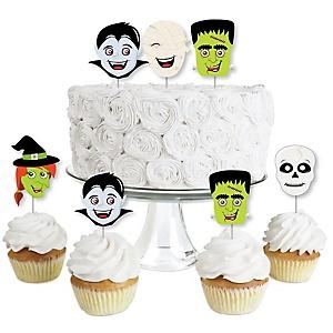 Halloween Monsters - Dessert Cupcake Toppers - Skeleton, Mummy, Vampire, Frankenstein & Witch Halloween Party Clear Treat Picks - Set of 24