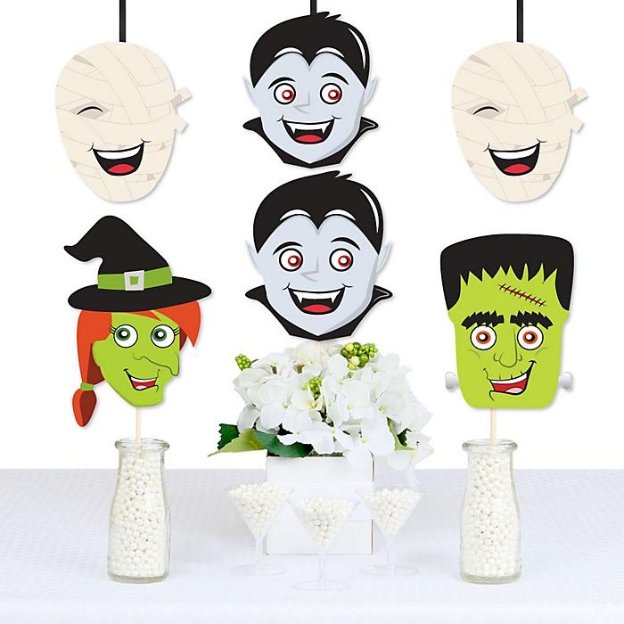 Halloween Monsters - Mummy, Vampire, Frankenstein & Witch Decorations DIY Halloween Party Essentials - Set of 20