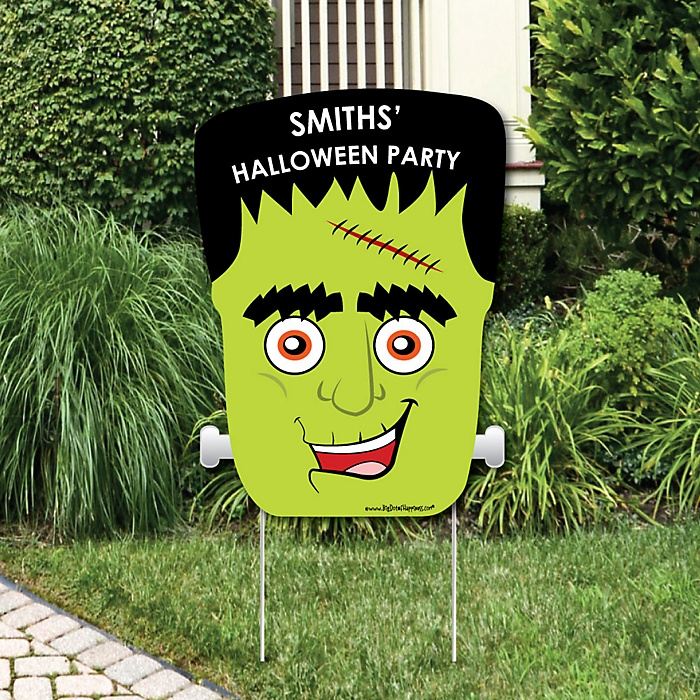 Halloween Monsters - Party Decorations - Frankenstein Halloween Party Personalized Welcome Yard Sign