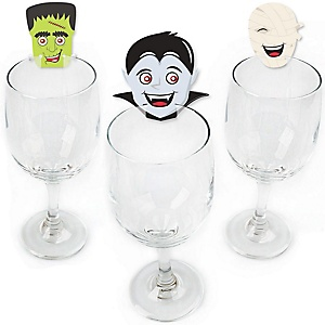 Halloween Monsters - Shaped Skeleton, Mummy, Vampire, Frankenstein & Witch Halloween Party Wine Glass Markers - Set of 24