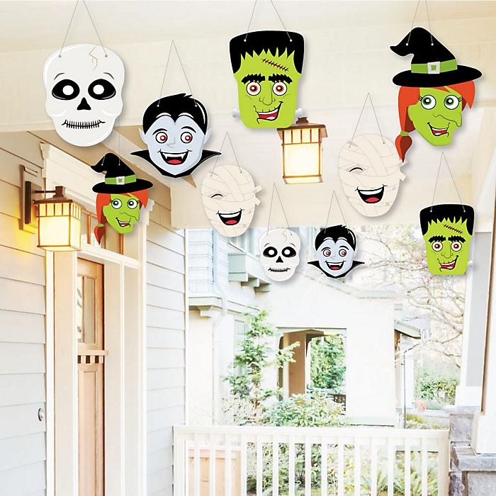 Hanging Halloween Monsters - Outdoor Skeleton, Mummy, Vampire, Frankenstein & Witch Halloween Party Hanging Porch & Tree Yard Decorations - 10 Pieces
