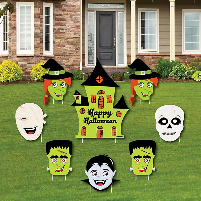 Halloween Monsters - Yard Sign & Outdoor Lawn Decorations - Skeleton, Mummy, Vampire, Frankenstein & Witch Halloween Party Yard Signs - Set of 8
