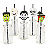 Halloween Monsters - Paper Straw Decor - Skeleton, Mummy, Vampire, Frankenstein & Witch Halloween Party Striped Decorative Straws - Set of 24