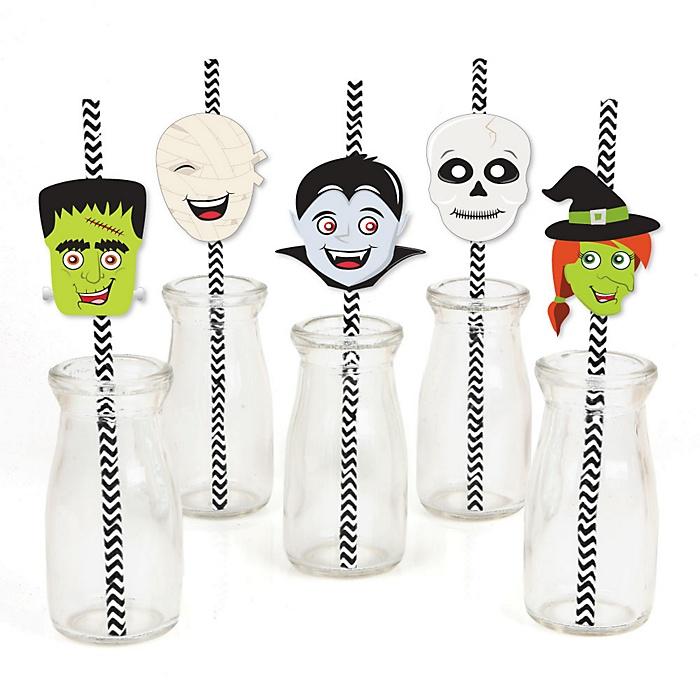 Halloween Monsters - Paper Straw Decor - Skeleton, Mummy, Vampire, Frankenstein & Witch Halloween Party Striped Decorative Straws - Set of 24