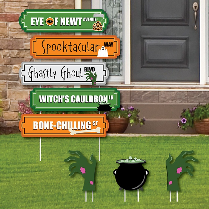 Scary Halloween Street Sign Cutouts - Halloween Yard Signs & Decorations - Set of 8