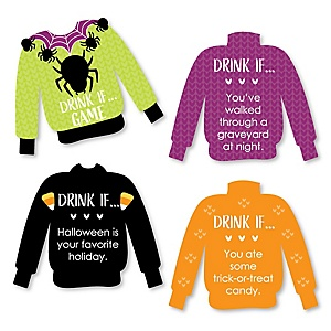 Drink If Game - Halloween Ugly Sweater - Halloween Party Game - 24 Count