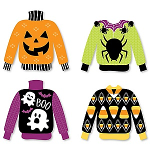 Halloween Ugly Sweater - DIY Shaped Halloween Party Cut-Outs - 24 ct