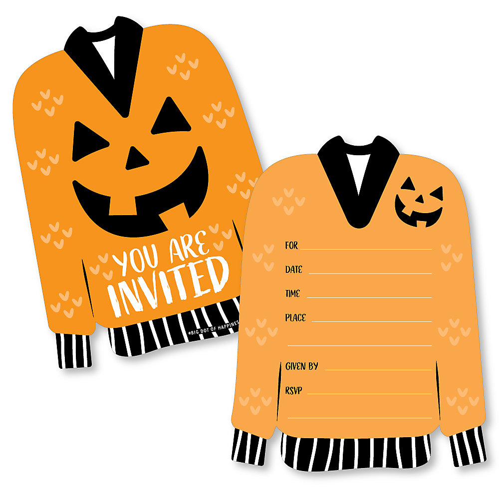 Halloween Ugly Sweater Shaped Fill In Invitations Halloween Party Invitation Cards With Envelopes Set Of 12
