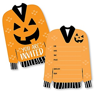 Halloween Ugly Sweater - Shaped Fill-In Invitations - Halloween Party Invitation Cards with Envelopes - Set of 12