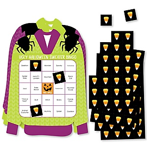 Halloween Ugly Sweater - Bar Bingo Cards and Markers - Halloween Party Shaped Bingo Game - Set of 18