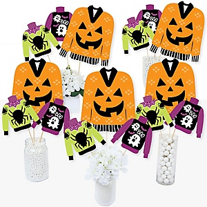 Halloween Ugly Sweater - Halloween Party Centerpiece Sticks - Table Toppers - Set of 15