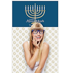 "Happy Hanukkah - Chanukah Party Photo Booth Backdrops - 36"" x 60"""