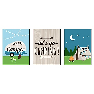 Happy Camper - Nursery Wall Art, Kids Room Décor and Camping Home Decorations - 7.5 x 10 inches - Set of 3 Prints
