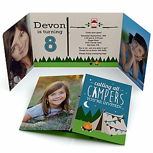 Happy Camper - Personalized Camping Birthday Party Photo Invitations - Set of 12