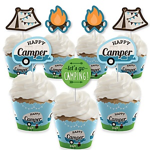 Happy Camper - Cupcake Decoration - Camping Baby Shower or Birthday Party Cupcake Wrappers and Treat Picks Kit - Set of 24