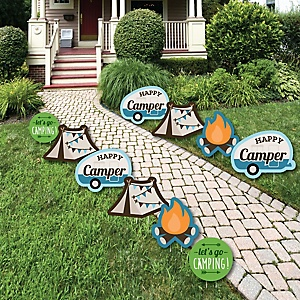 Happy Camper - Lawn Decorations - Outdoor Camping Baby Shower or Birthday Party Yard Decorations - 10 Piece