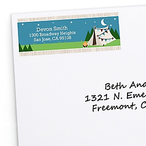 Happy Camper - Personalized Camping Baby Shower or Birthday Party Return Address Labels - 30 ct