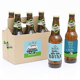 Happy Camper - Decorations for Women and Men - 6 Camping Baby Shower or Birthday Party Beer Bottle Label Stickers and 1 Carrier
