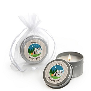 Happy Camper - Personalized Camping Baby Shower or Birthday Party Candle Tin Favors - Set of 12