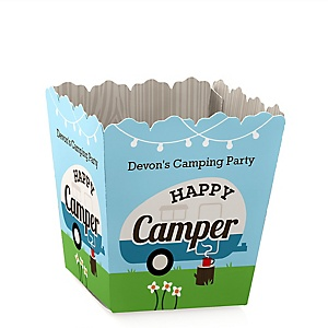 Happy Camper - Party Mini Favor Boxes - Personalized Camping Baby Shower or Birthday Party Treat Candy Boxes - Set of 12